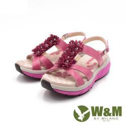 W&M(女) FIT健走健碩彈力增高涼鞋 女鞋-桃粉(另有淺藍)