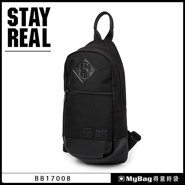 STAYREAL 側背包 定番單肩包 多功能胸包 黑色 BB17008 得意時袋