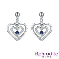 【Aphrodite 愛芙晶鑽】可愛雙桃心線條水晶美鑽造型鍍銀耳環(藍水晶)