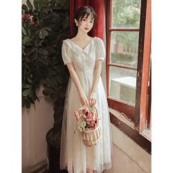 維拉森林-杏白刺繡娃娃領高腰柔紗輕禮服洋裝S-L