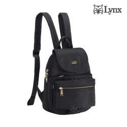 【Lynx】輕巧/多口袋/掀蓋設計後背包-黑色