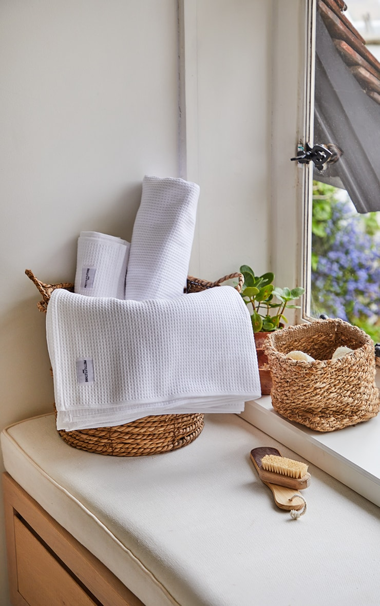 White Waffle Cotton Large Bath Towel