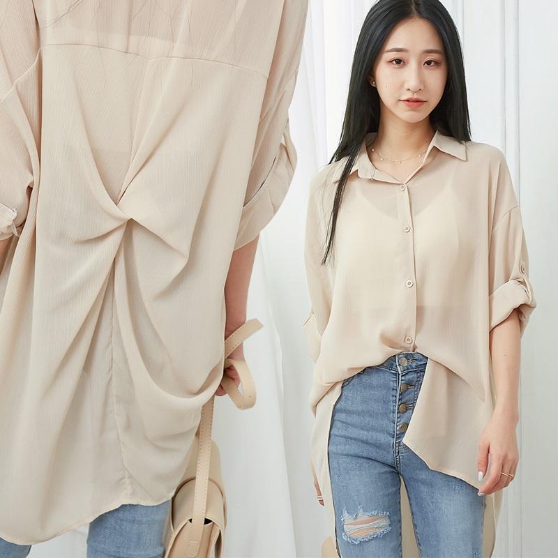 後扭結透膚反釦袖襯衫-eFashion 預【P13978780】