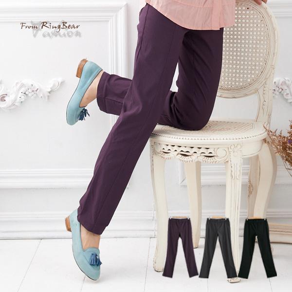 長褲--營造長腿妹-鬆緊褲頭中央壓線設計萊卡素面長褲(黑.灰.紫M-6L)-P49眼圈熊中大尺碼