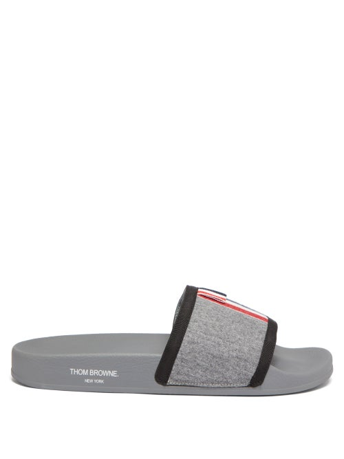 Thom Browne - Tricolour-stripe Wool-twill And Rubber Slides - Mens - Grey