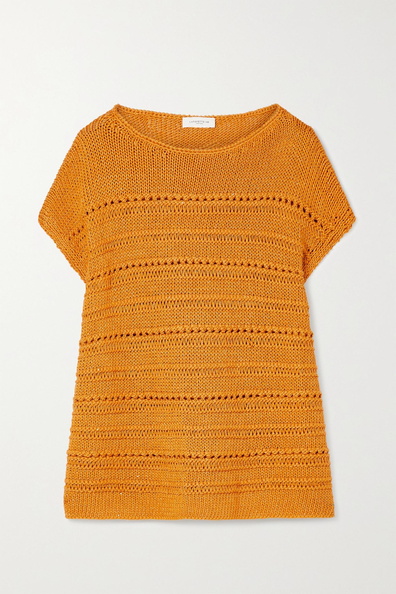 LAFAYETTE 148 - Sequin-embellished Open-knit Cotton-blend Sweater - Orange - xx small