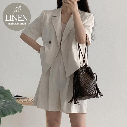 韓國空運 - 單釦外套壓褶短褲亞麻套裝