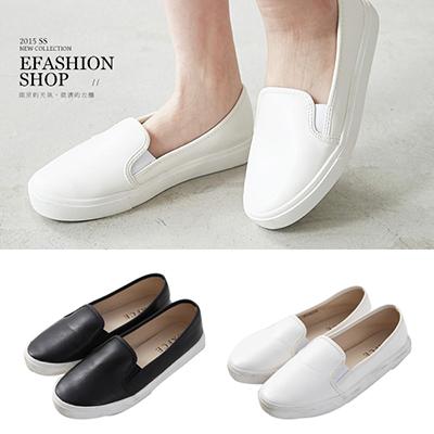 ★春夏現貨★樂福鞋-素面皮質休閒鞋-eFashion 【B13700129】