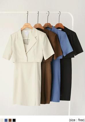 韓國空運 - 短袖外套細肩帶短洋裝套裝