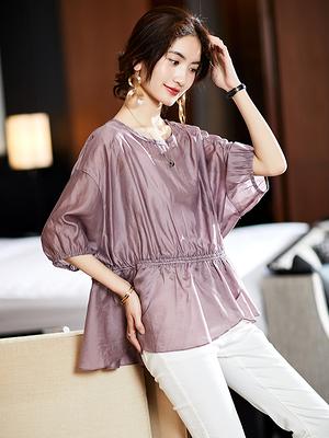 上衣大碼L-4XL大碼簡約純色抽繩T恤襯衫寬松胖MM女裝夏裝NB11B依佳衣