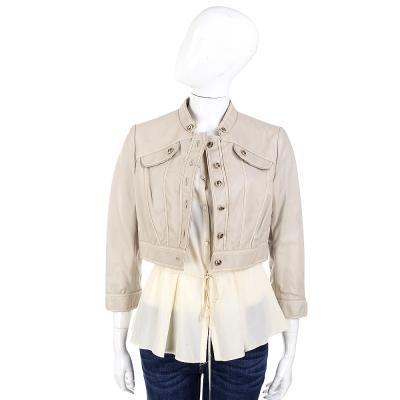 PHILOSOPHY-AF 卡其色綿羊皮短版外套