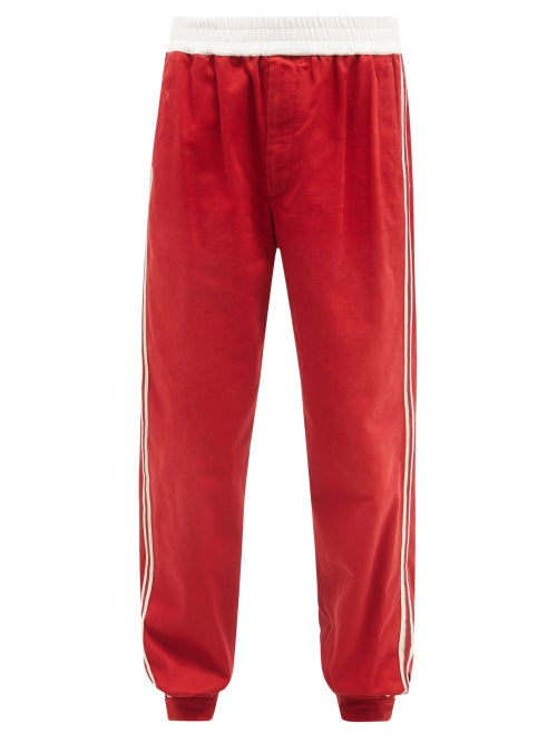 Gucci - GG-logo Side-stripe Cotton-drill Track Pants - Mens - Red