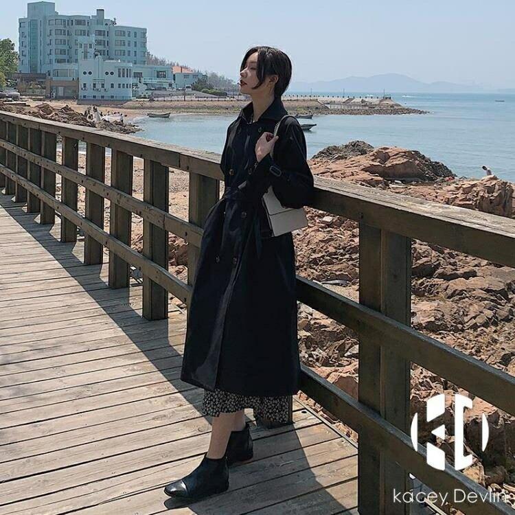 黑暗系風衣女中長款春秋英倫氣質今年流行小個子大衣外套【聚物優品】