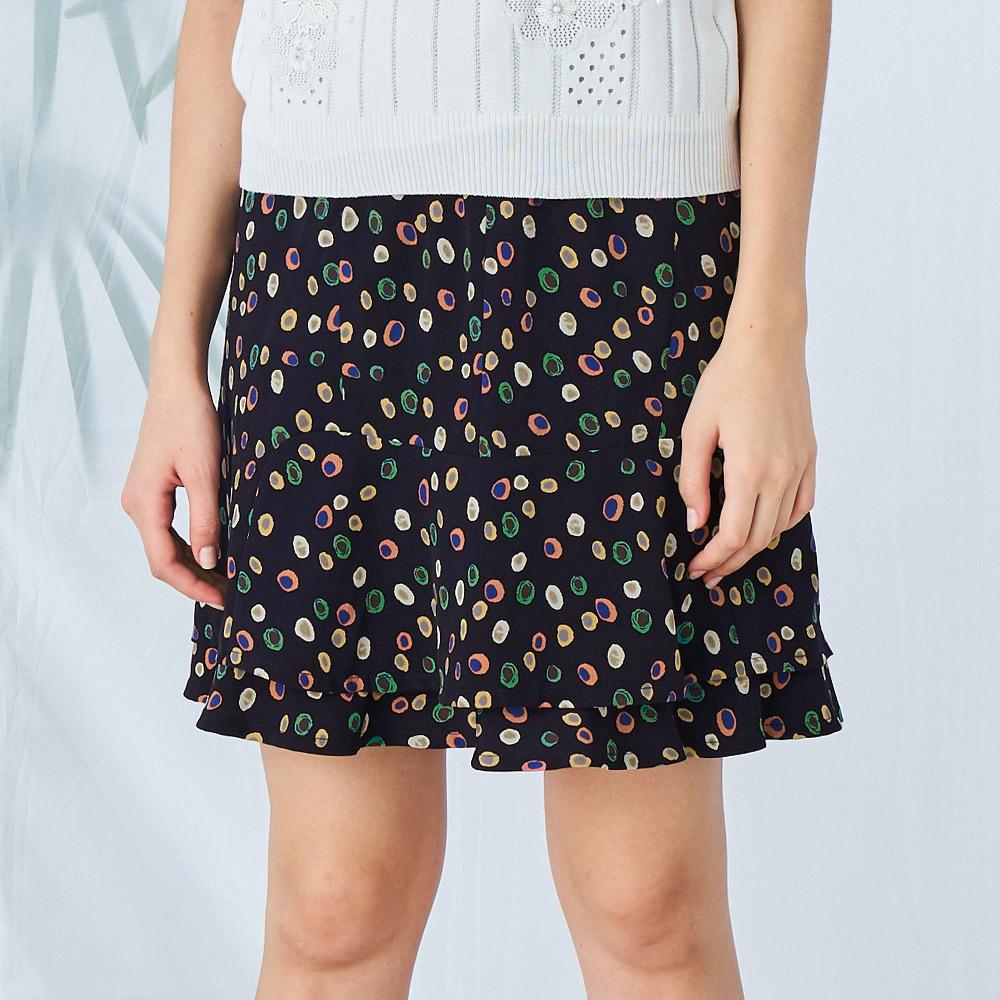 ILEY伊蕾 手繪感波點荷葉短裙(藍)003230