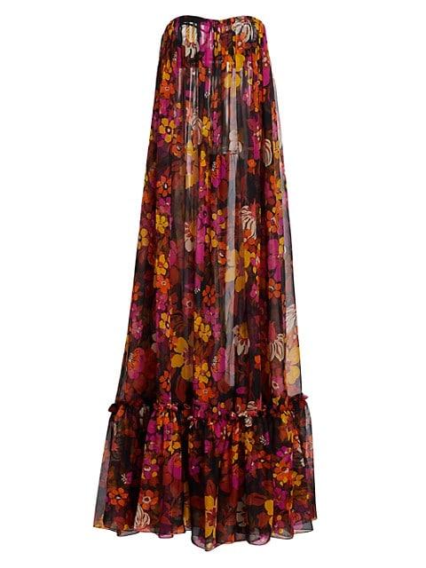 Floral Strapless Silk Gown