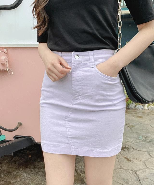 韓國空運 - Big 26-38 Inch Floret Banding Cotton Mini Skirt 裙子