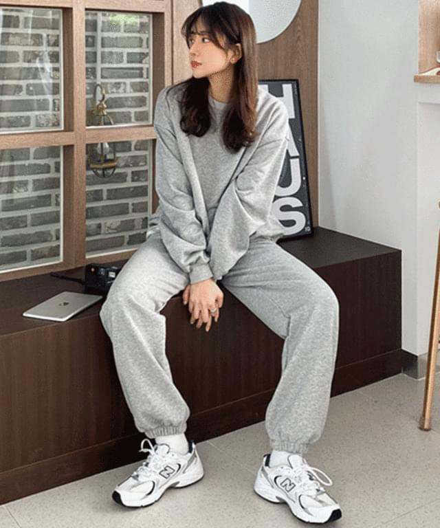 韓國空運 - Big size 55-99 barbell Sweatshirt training pants set 套裝