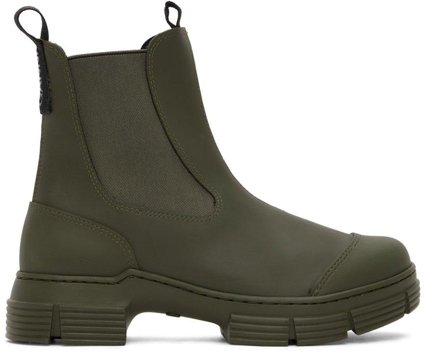 GANNI 军绿色 City 再生橡胶踝靴