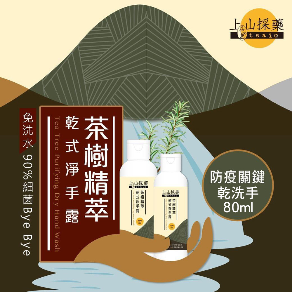 【CS22】【tsaio上山採藥】茶樹精萃乾洗手80ml-12入