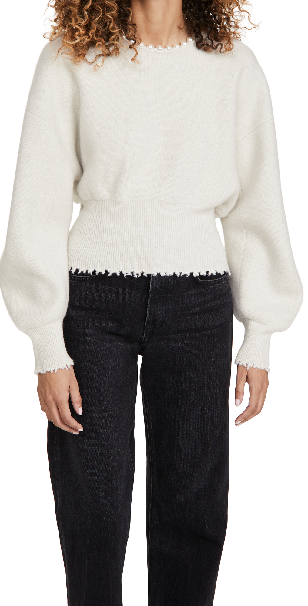 Alexander Wang Crew Neck Pullover with Pearl Necklace Ivory L