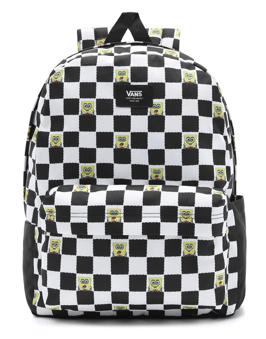 Vans X Spongebob Old Skool III checkerboard backpack in black/white