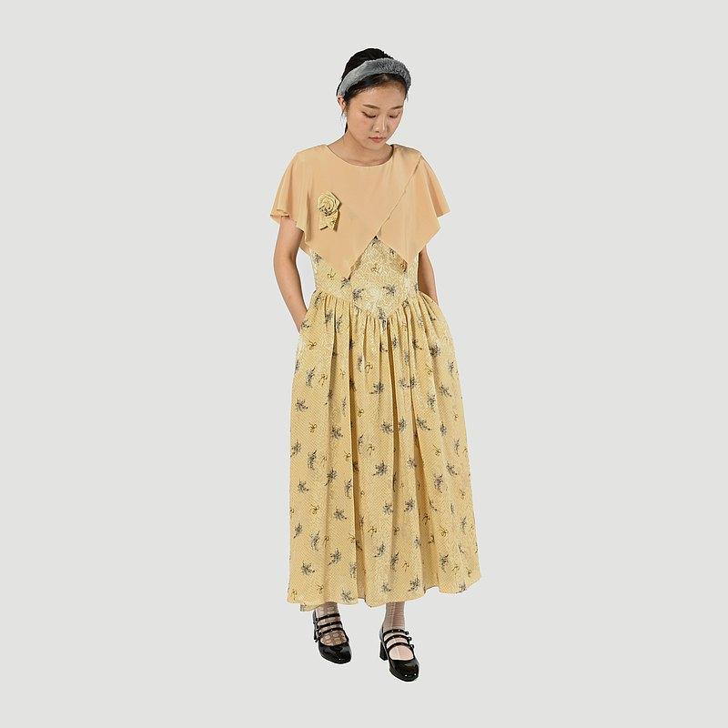 【蛋植物古著】春光花穗披肩領印花古著洋裝