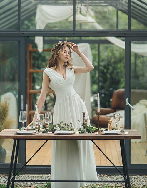 希臘女神深V長禮服洋裝(附胸墊)