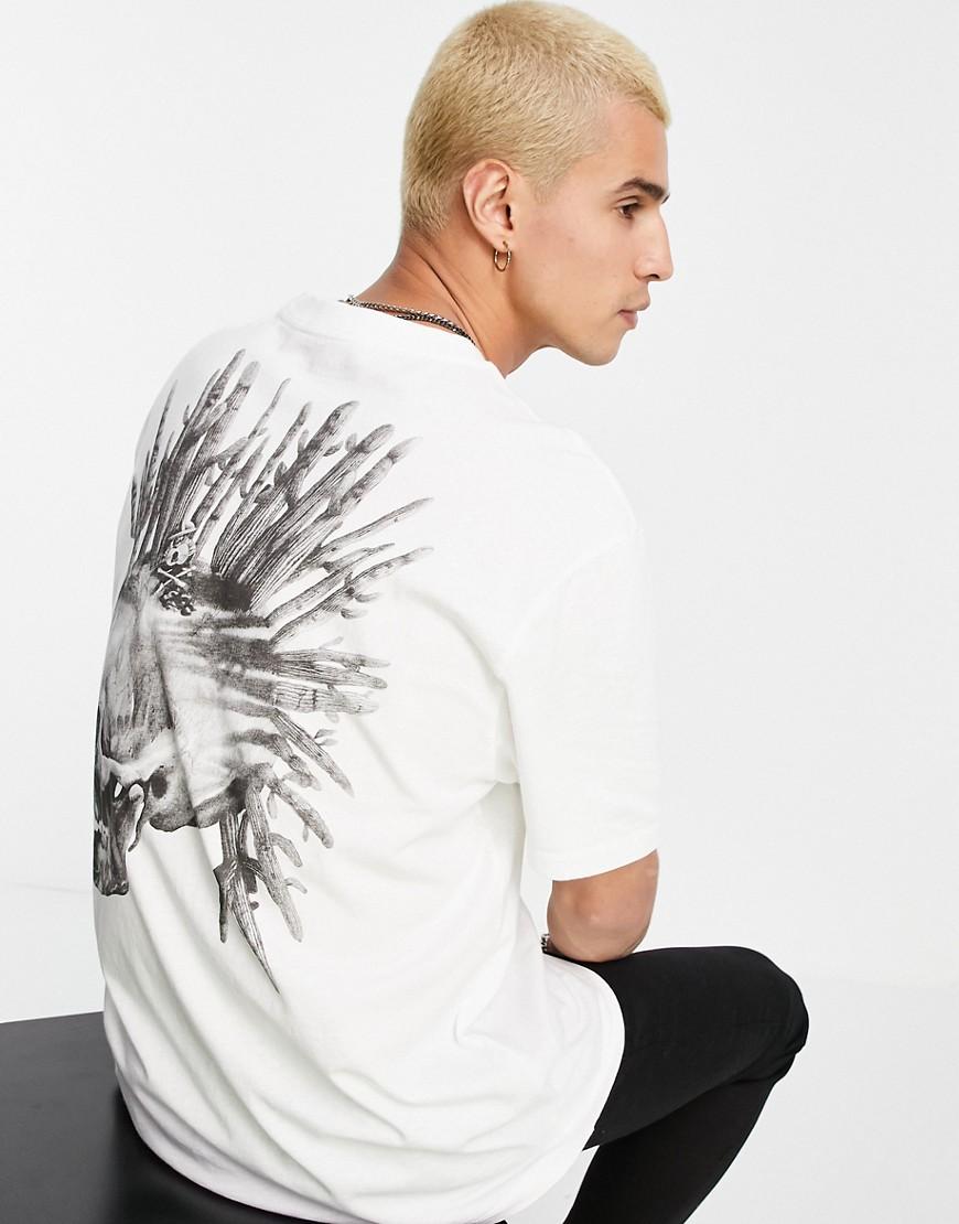 AllSaints forsaken skull print t-shirt in white