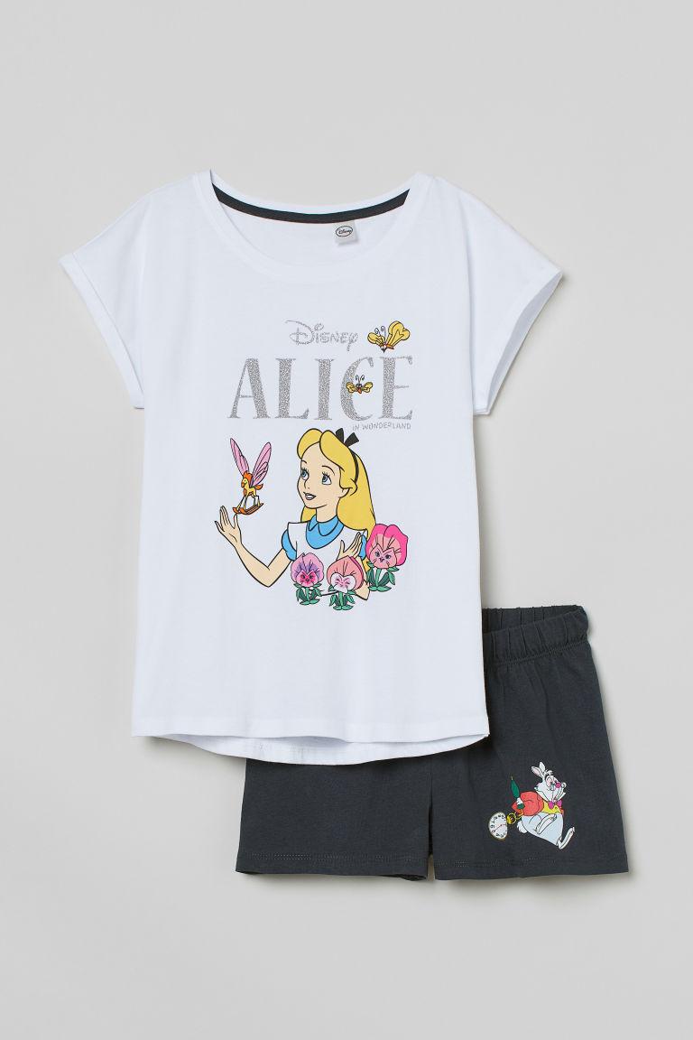 H & M - 平紋睡衣套裝 - 白色