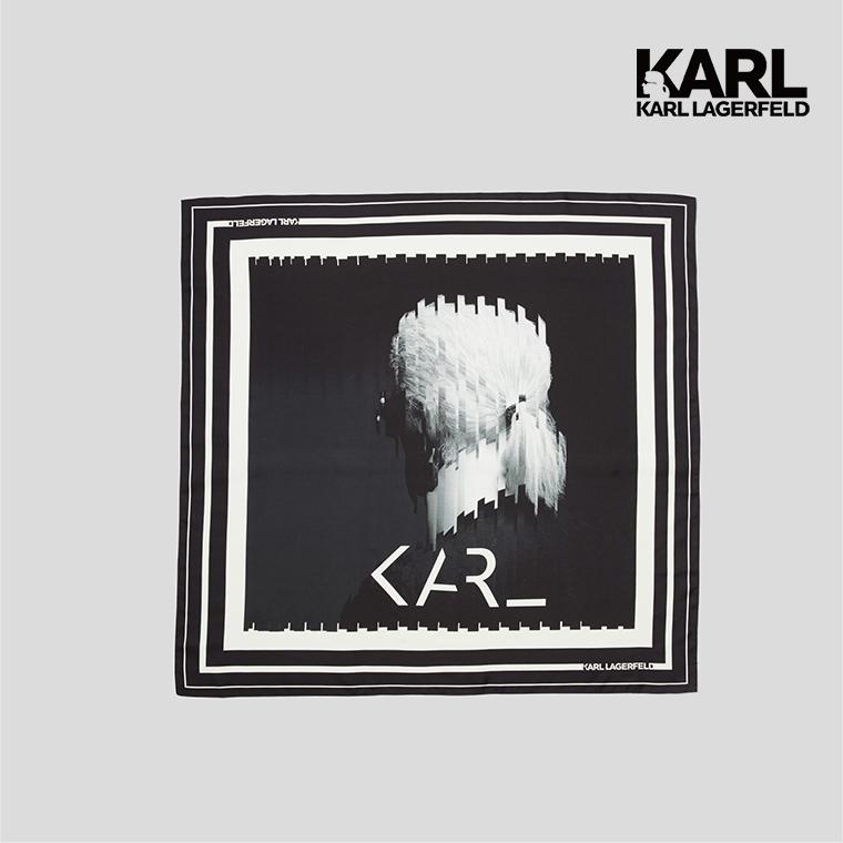 【KARL LAGERFELD】KARL傳奇絲巾-黑白  (原廠公司貨)
