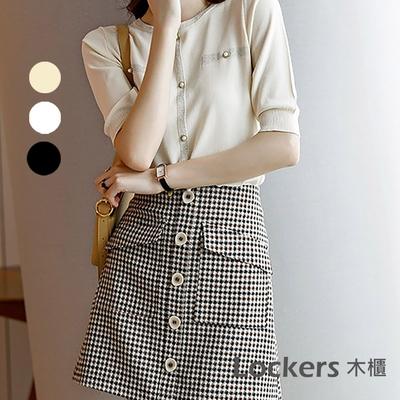 【Lockers 木櫃】百搭銀線薄款針織上衣-3色 L11006161