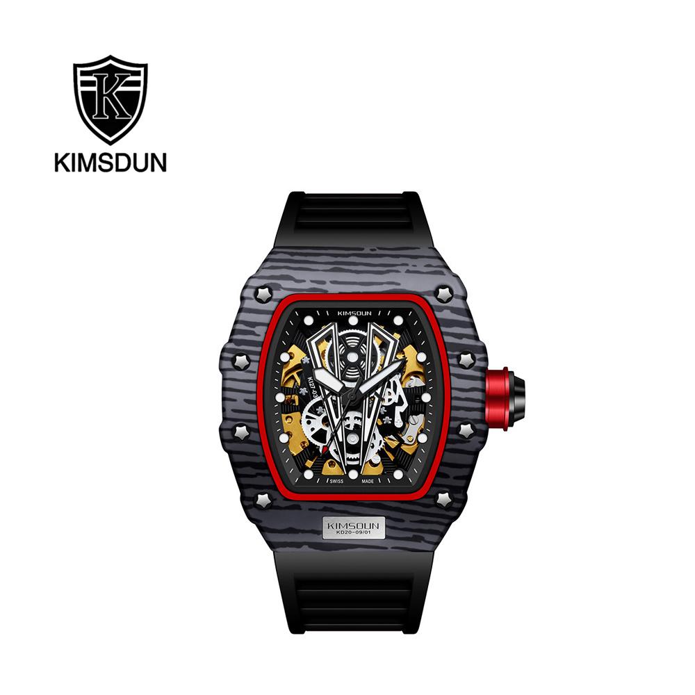 KM 卡蒙 瑞士品牌 理查德款三眼時尚運動手錶男士腕錶-黑帶黑殼公牛