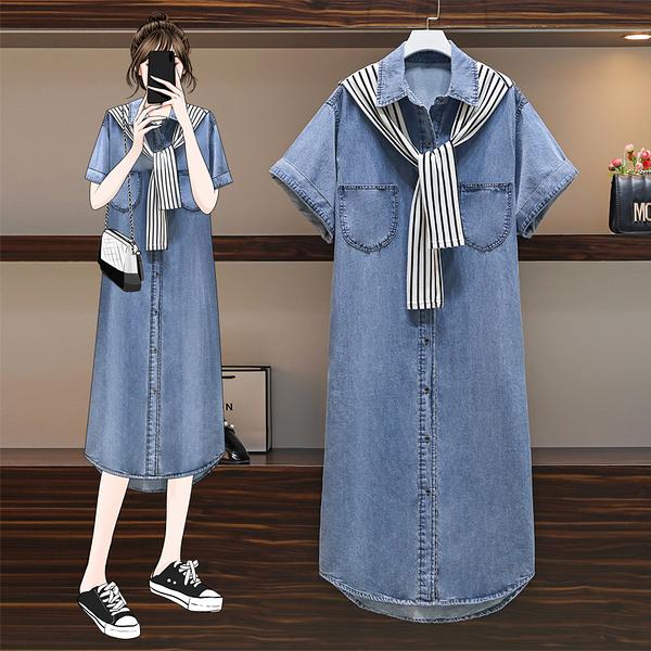 VK精品服飾 韓系方領配披肩牛仔大碼寬鬆套裝短袖裙裝