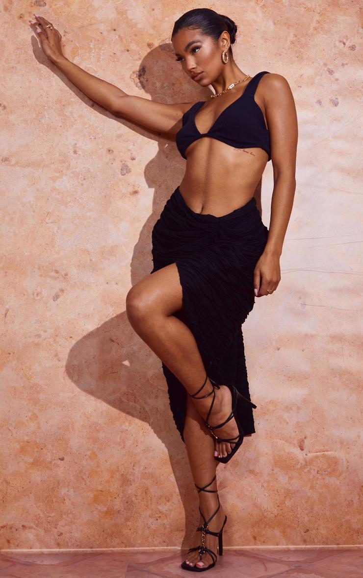 Black Textured Dip Waist Ruched Midi Skirt