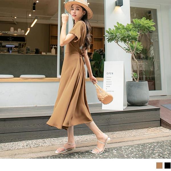 《DA8650-》純色涼爽微性感鏤空收腰綁帶洋裝 OB嚴選