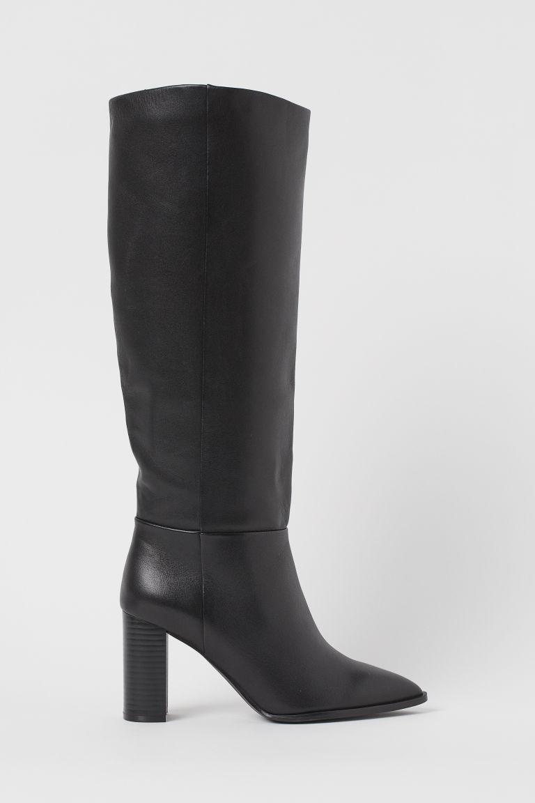 H & M - 真皮及膝靴 - 黑色