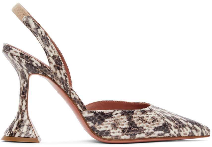 Amina Muaddi 棕色 Holli 鳄鱼纹露跟高跟鞋