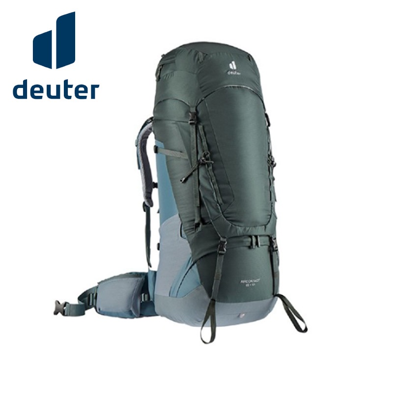 【DEUTER】Aircontact 拔熱式透氣登山背包  65+10L 橄欖綠/湖藍色