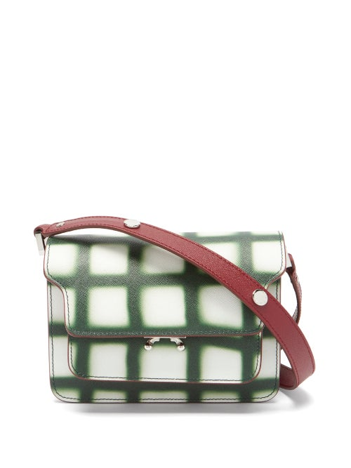 Marni - Trunk Mini Grid-print Leather Shoulder Bag - Womens - Green White