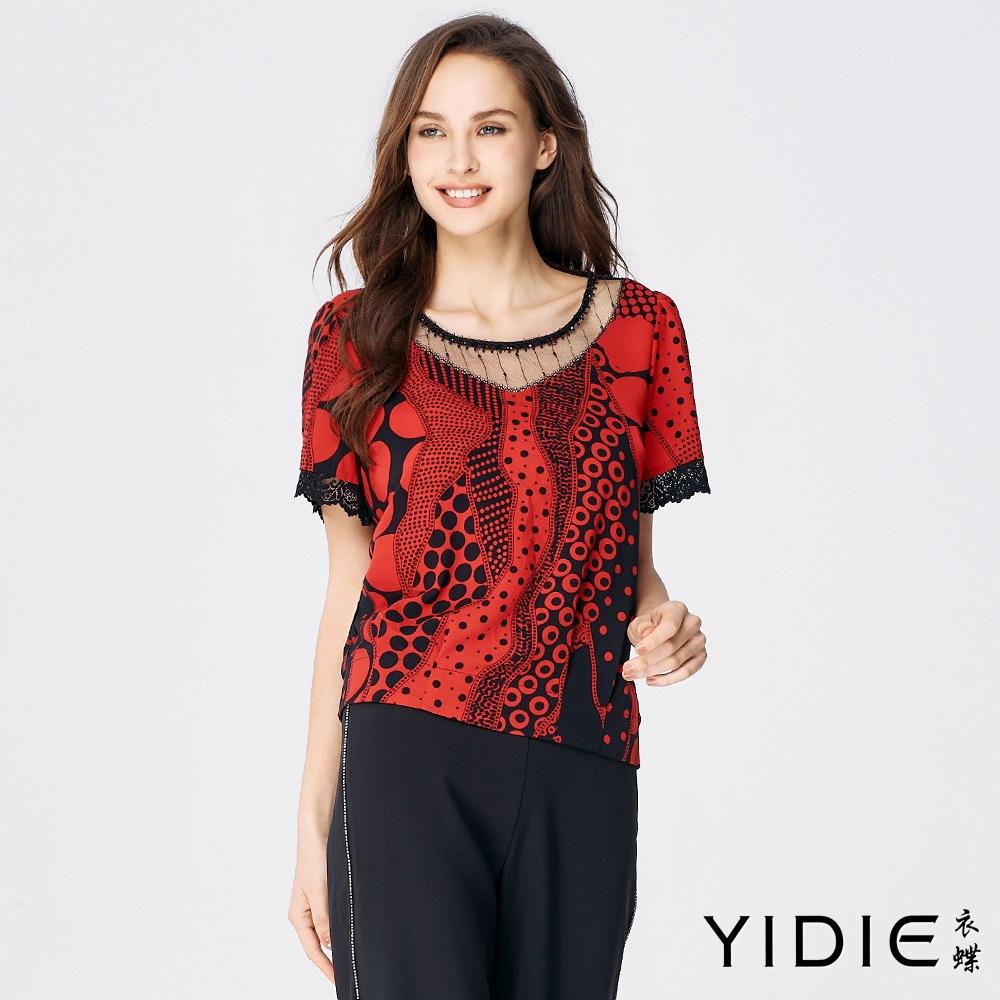 【YIDIE衣蝶】黑紅點拼接透膚蕾絲雪紡上衣-紅