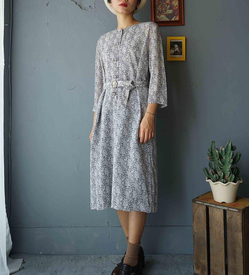 尋寶古著-低調灰藍色佩斯利印花雪紡復古洋裝附腰帶