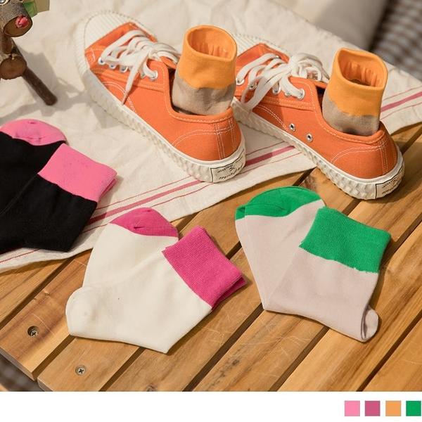 《ZB1226》拼接色塊撞色俏皮襪 OrangeBear