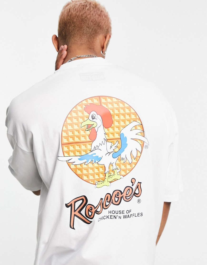 ASOS DESIGN oversized t-shirt with Roscoes House of Chicken' N Waffles print in white