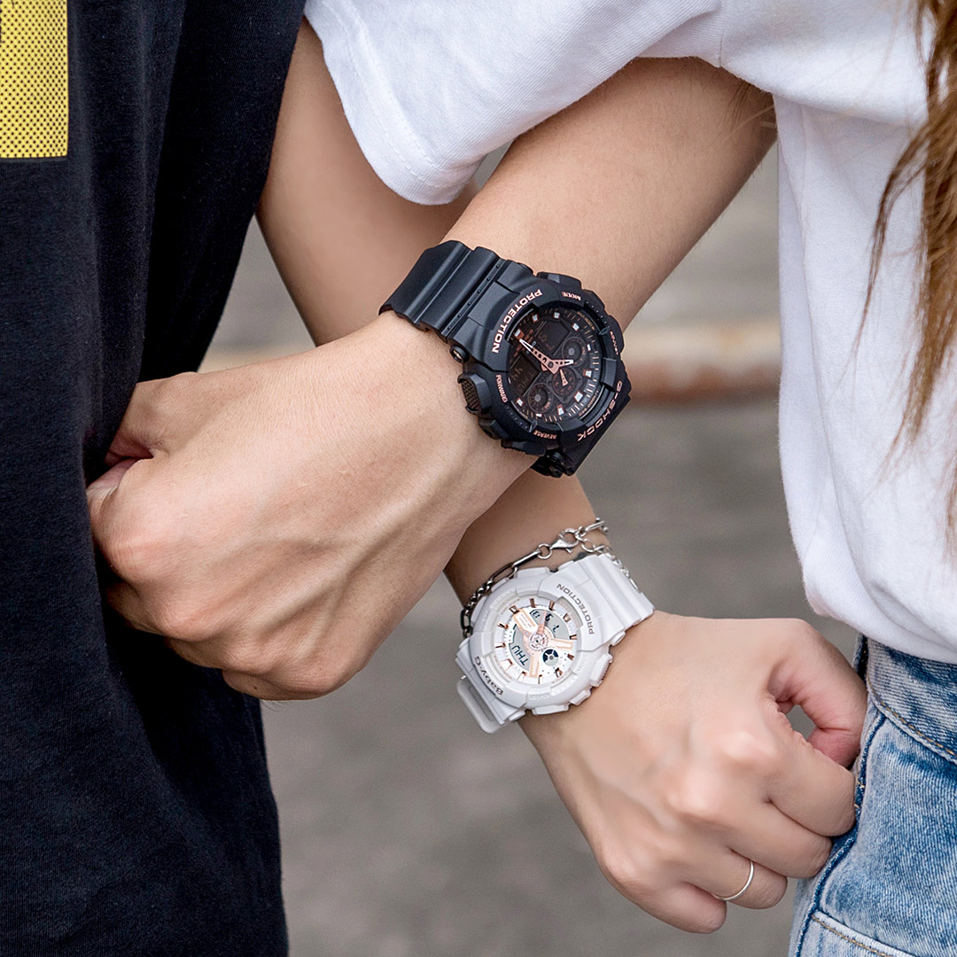 【618年中慶! 日本情人錶下單紅利2%回饋!】G-SHOCK x BABY-G 微金閃耀運動情人對錶/黑金x白金 GA-100GBX-1A4DR+BA-110RG-7ADR 情侶對錶 樹脂錶帶 熱賣