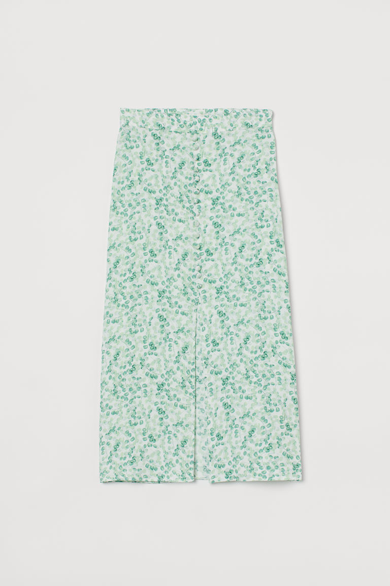 H & M - 鈕扣式中長裙 - 綠色