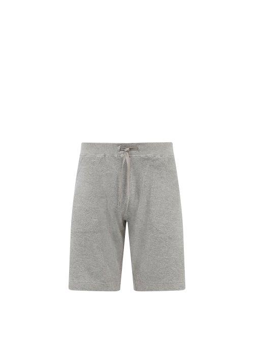 Sunspel - Drawstring Organic Cotton-terry Shorts - Mens - Grey