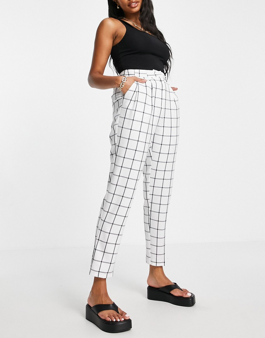 ASOS DESIGN Hourglass tailored smart tapered trousers in ivory check-White