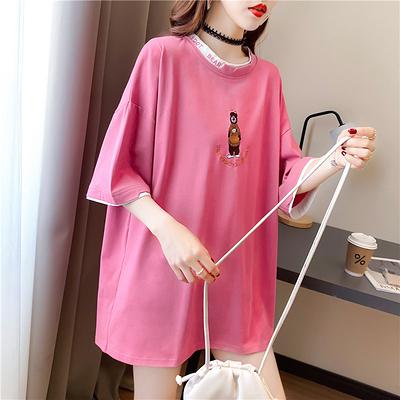 大碼短T~8726刺繡假兩件中長款卡通寬松中長款短袖T恤女4F-E416 胖妞衣櫥