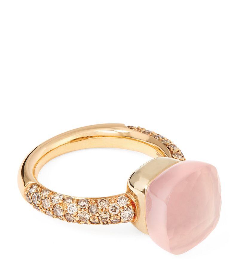 Pomellato White Gold, Rose Gold, Diamond And Rose Quartz Nudo Ring