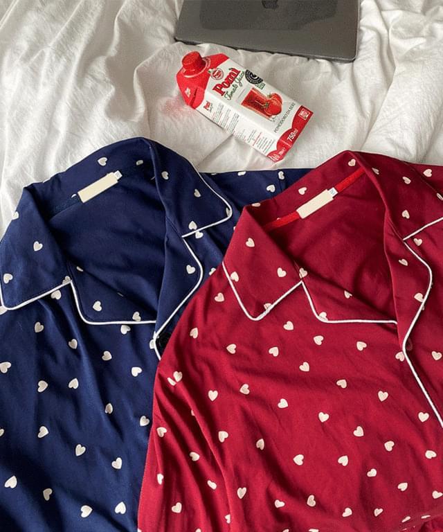 韓國空運 - Big Size 66-120 Heart Collar Pants Pajama Set 套裝